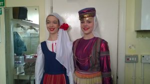Chloe and Olivia about to dance in the National section